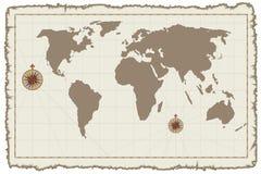 Correspondencia de mundo vieja del vector en el pergamino Foto de archivo