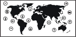 Correspondencia de mundo y conjunto del icono Fotografía de archivo libre de regalías
