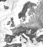 Correspondencia de relevación sombreada gris de Europa Imágenes de archivo libres de regalías