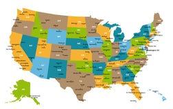 Correspondencia de todos los estados de los E.E.U.U. Foto de archivo