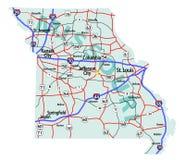 Correspondencia de un estado a otro del estado de Missouri Fotos de archivo libres de regalías