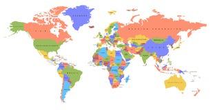 Correspondencia del continente y del país del color correspondencia política fotos de archivo libres de regalías