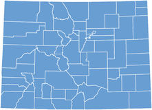 Correspondencia del estado de Colorado por los condados stock de ilustración