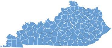 Correspondencia del estado de Kentucky por los condados Imagen de archivo libre de regalías