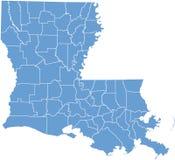 Correspondencia del estado de Luisiana por los condados Imágenes de archivo libres de regalías