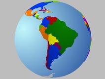 Correspondencia del globo de Suramérica Fotos de archivo libres de regalías