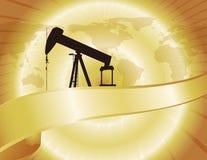 Correspondencia del petróleo del mundo del oro Imágenes de archivo libres de regalías