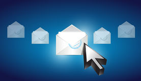 Correspondencia del sobre del correo electrónico seleccionada Imágenes de archivo libres de regalías