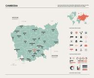 Correspondencia del vector de Camboya Alto mapa detallado del pa?s con la divisi?n, las ciudades y la capital Phnom Penh Mapa pol ilustración del vector