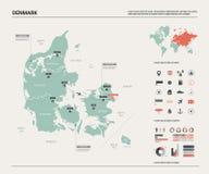 Correspondencia del vector de Dinamarca Alto mapa detallado del pa?s con la divisi?n, las ciudades y la capital Copenhague Mapa p libre illustration