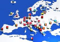 Correspondencia e indicadores de Europa Foto de archivo libre de regalías