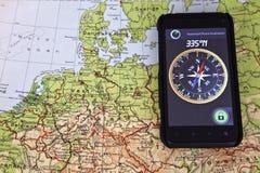 Correspondencia Europa del norte y compás Foto de archivo libre de regalías