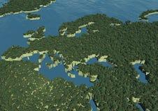 Correspondencia europea cubierta con los árboles Fotografía de archivo