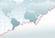Correspondencia financiera del crecimiento de la economía global de la carta Fotografía de archivo libre de regalías