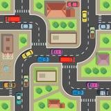 Correspondencia inconsútil de la ciudad Edificio y calle de la visión superior con los coches y los camiones Textura sin fin del  stock de ilustración