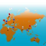 Correspondencia mundial de Tacks_Eurasias Imagen de archivo libre de regalías