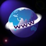 Correspondencia o globo de mundo con el anillo de WWW alrededor Imágenes de archivo libres de regalías