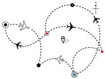 Correspondencia plana de los planes de recorrido de las trayectorias de vuelo de la línea aérea Imagen de archivo libre de regalías