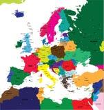 Correspondencia política de Europa stock de ilustración