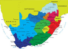 Correspondencia política de Suráfrica Imágenes de archivo libres de regalías