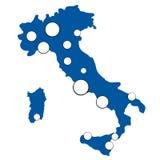 Correspondencia simple de Italia con las ciudades más grandes Imagen de archivo libre de regalías