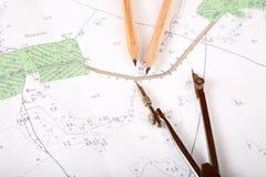 Correspondencia topográfica del districto Imagenes de archivo
