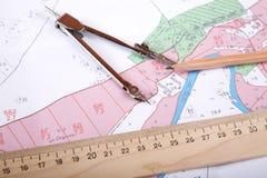 Correspondencia topográfica del instrumento de medida del districto Fotos de archivo libres de regalías