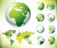 Correspondencia verde del globo y de mundo del vector Imágenes de archivo libres de regalías