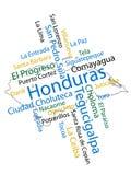 Correspondencia y ciudades de Honduras ilustración del vector
