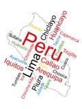 Correspondencia y ciudades de Perú stock de ilustración
