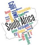 Correspondencia y ciudades de Suráfrica stock de ilustración