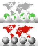 Correspondencia y globos de mundo Foto de archivo libre de regalías