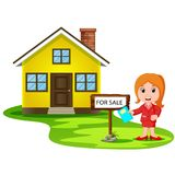 Corretor das jovens mulheres que oferece a casa para a venda ilustração do vetor
