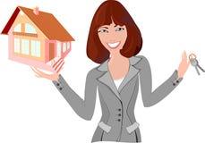 Corretor de imóveis com modelo da casa Imagens de Stock Royalty Free