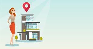 Corretor de imóveis no fundo da casa com ponteiro do mapa ilustração stock