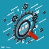 Correzione bug, ricerca di errore, concetto di vettore di recupero di dati Fotografie Stock