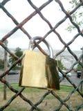Correzione dorata del lucchetto di amore su una rete metallica fotografie stock libere da diritti