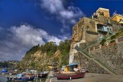 Corricella: самый старый рыбацкий поселок острова Procida Стоковая Фотография RF