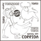 Corrida 动画片重点极性集向量 免版税库存照片