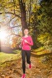 Corrida através da floresta do outono imagens de stock