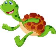 Corrida bonito dos desenhos animados da tartaruga Fotos de Stock Royalty Free