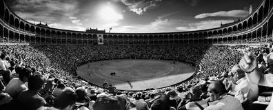 Corrida (bullfighting). Las Ventas. Madrid. Arena for bullfighting, las ventas in Madrid. Panoramic view Royalty Free Stock Photo