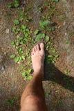 Corrida descalça na natureza Fotografia de Stock