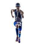 Corrida dos corredores do atleta do homem do ferro do triathlon do homem Imagem de Stock