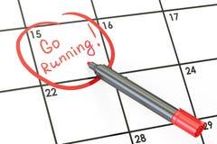Corrida Go! Data no conceito do calendário, rendição 3D Imagem de Stock