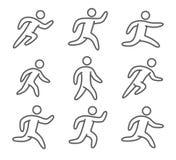 Corrida linear dos ícones dos esportes Foto de Stock