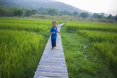Corrida longa do menino do cabelo e escalada na escada na estrada do campo do arroz fotos de stock