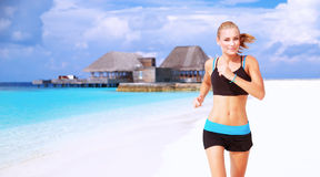 Corrida na praia Fotografia de Stock Royalty Free