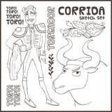 Corrida. Vector set. Vector landmarks and symbols set. Corrida, toreador, bull etc Royalty Free Stock Photography