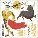 Corrida. Vector set. Vector landmarks and symbols set. Corrida, toreador, bull etc Stock Image